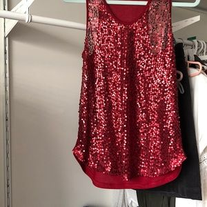 Red sequin tank- Size M